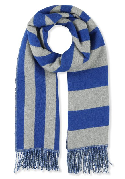 Echarpe grise à rayures bleues