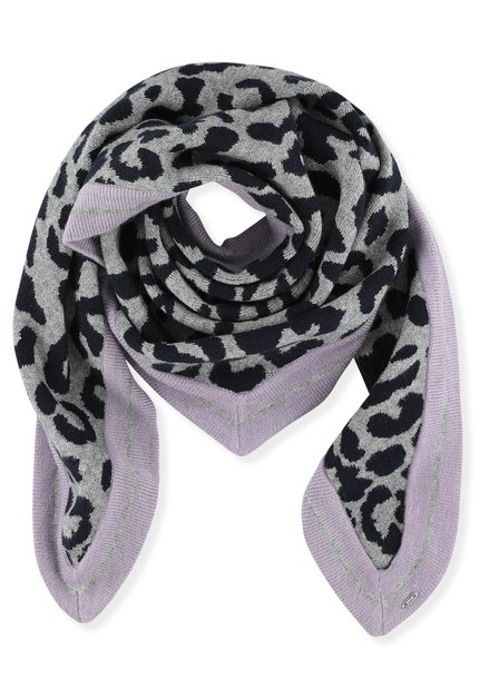 Écharpe grise et lila avec imprimé léopard