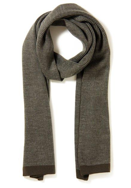 Echarpe kaki avec lignes grises