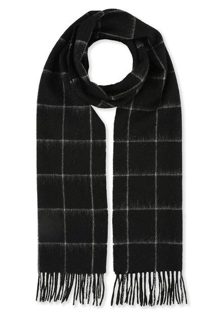 Écharpe noire à carreaux blancs