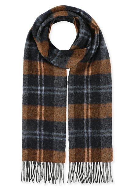 Écharpe noire à carreaux bruns
