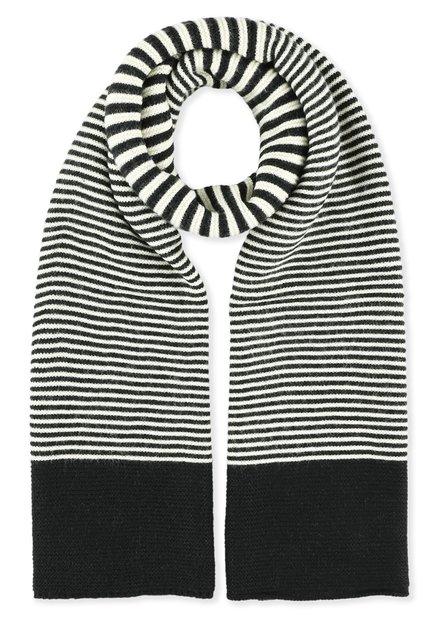 Écharpe noire à motif blanc