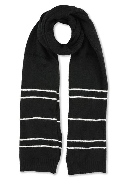Écharpe noire à rayures blanches