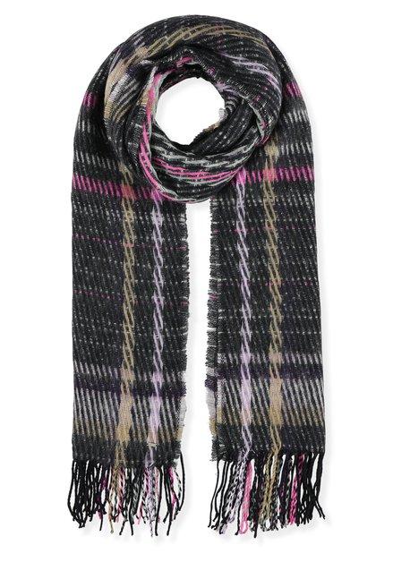 Écharpe rose et grise en tricot