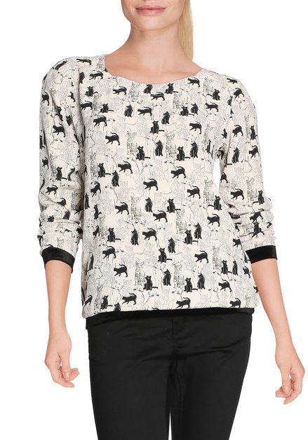 Ecru bloes met zwarte katten