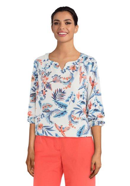 Ecru blouse met blauw-oranje tropische print