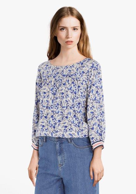 Ecru blouse met blauwe bloemen in viscose