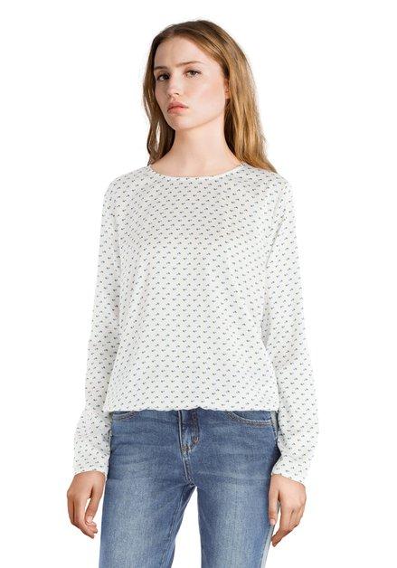 Ecru blouse met blauwe en groene stippen