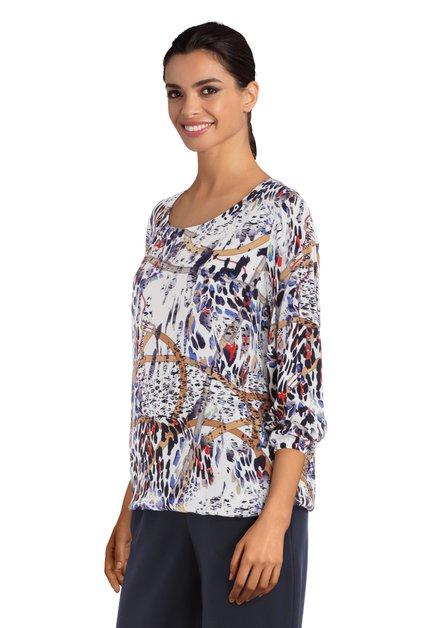 Ecru blouse met eclectische print