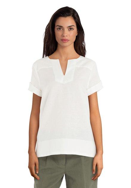 Ecru blouse met linnen