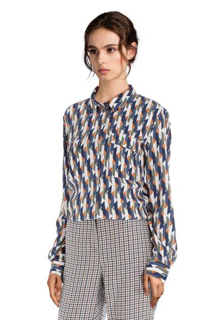 Ecru blouse met navy-oranje geometrische print