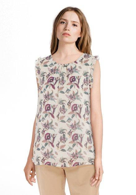 Ecru blouse met paarse bloemenprint