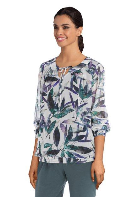 Ecru  blouse met paarse en groene bloemen