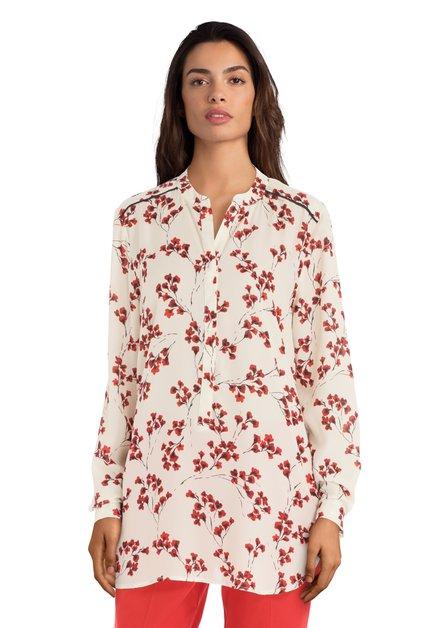 Ecru blouse met rode bloemetjes