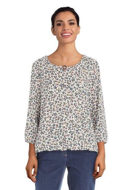 Ecru blouse met vlekjesprint