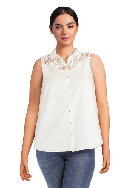 Ecru blouse zonder mouwen met kant