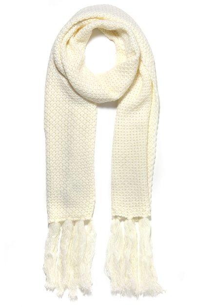 Ecru gebreide sjaal met franjes