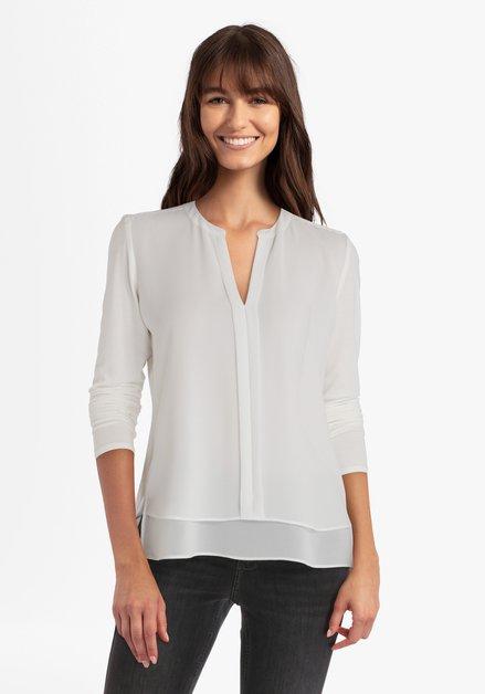 Ecru gelaagde blouse met V-hals