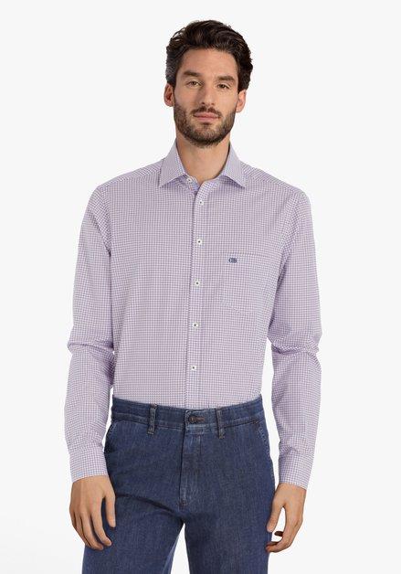 Ecru hemd met blauw-rode print – regular fit