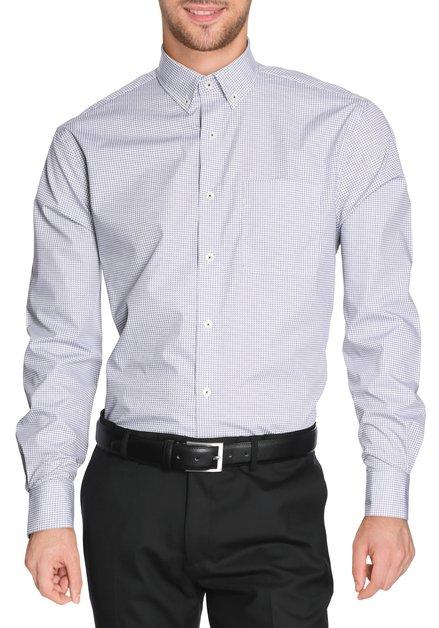 Ecru hemd met blauwe miniprint - comfort fit