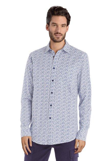 Ecru hemd met blauwe print - regular fit