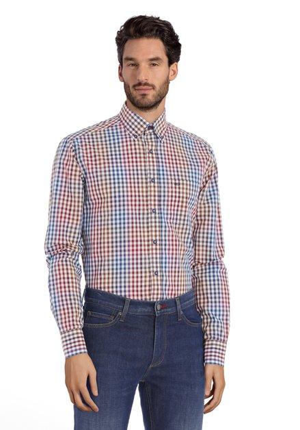 Ecru hemd met bordeaux-blauwe ruiten