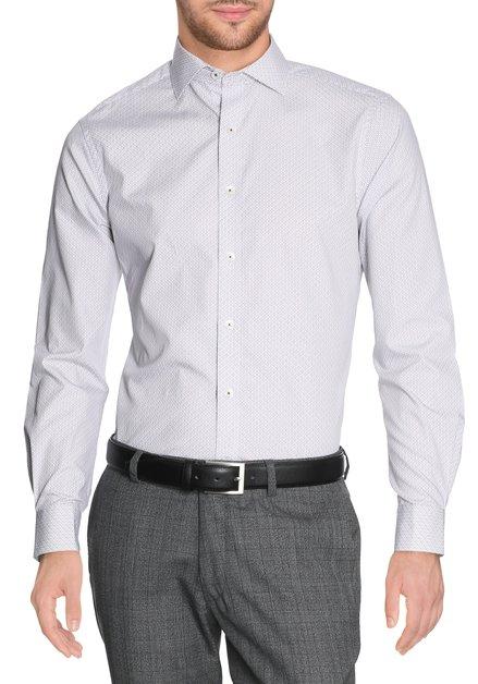 Ecru hemd met bordeaux grijze - slender fit
