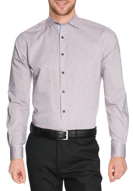 Ecru hemd met bordeaux ruiten - slender fit