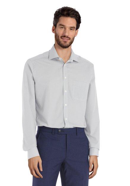 Ecru hemd met donkerblauwe miniprint - regular fit