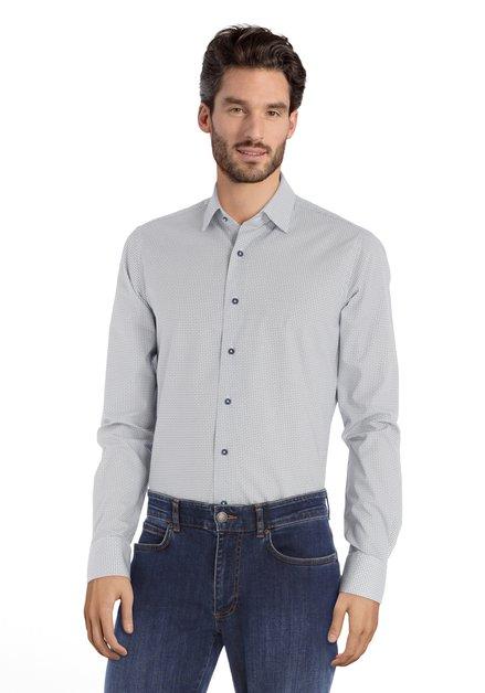 Ecru hemd met donkerblauwe miniprint - slim fit