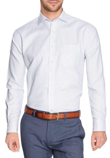 Ecru hemd met donkergroene miniprint - regular fit
