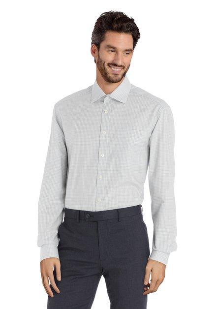 Ecru hemd met groene ruiten - comfort fit