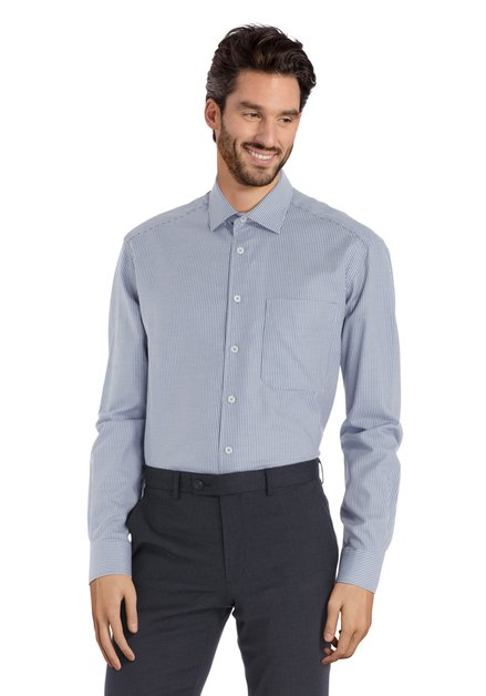 Ecru hemd met lichtblauwe miniprint - comfort fit