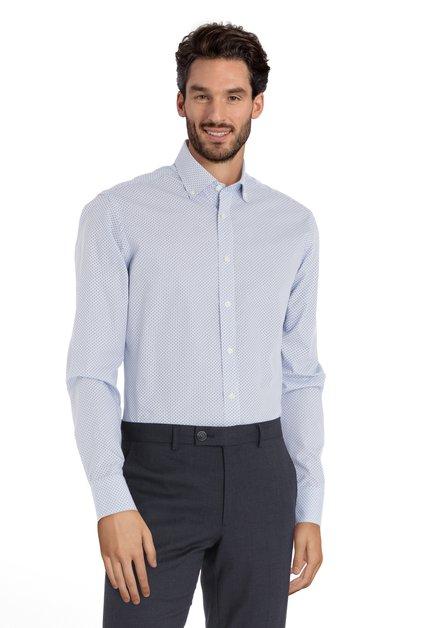 Ecru hemd met lichtblauwe miniprint - slender fit