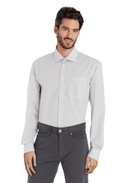 Ecru hemd met paars motief - comfort fit