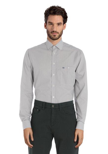 Ecru hemd met wijnkleurige miniprint – regular fit