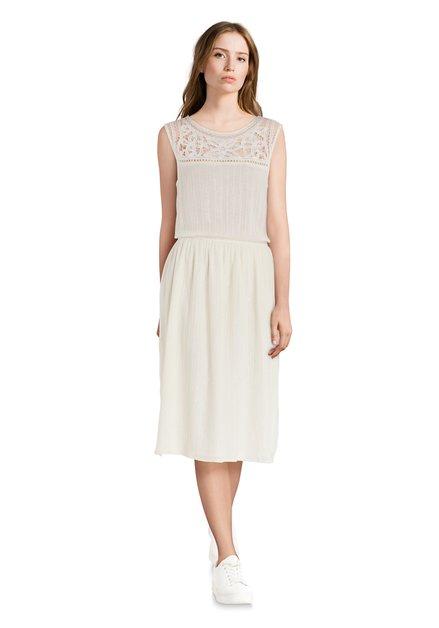 Ecru jurk met kant en lurex