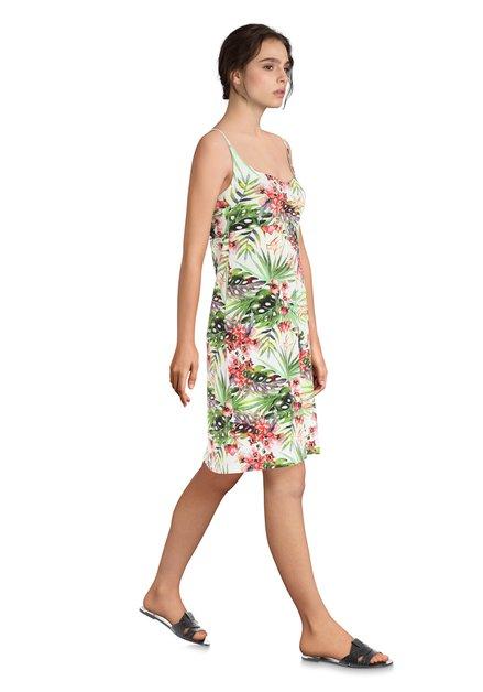 c67a2f16d652df Ecru jurk met tropische print