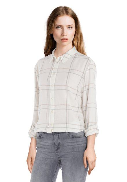 Ecru katoenen blouse met grijze ruiten