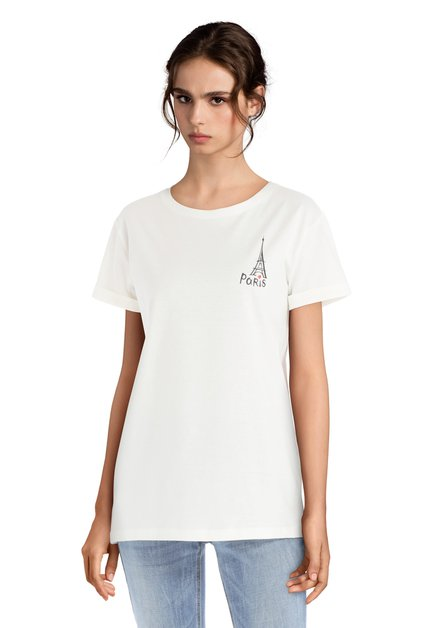 Ecru katoenen 'Paris' T-shirt