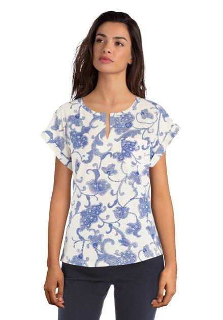 Ecru katoenen T-shirt met blauwe paisleyprint
