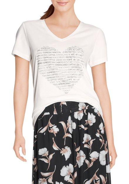 Ecru katoenen T-shirt met hartje