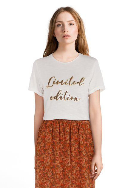Ecru 'limited edition' T-shirt met ronde hals