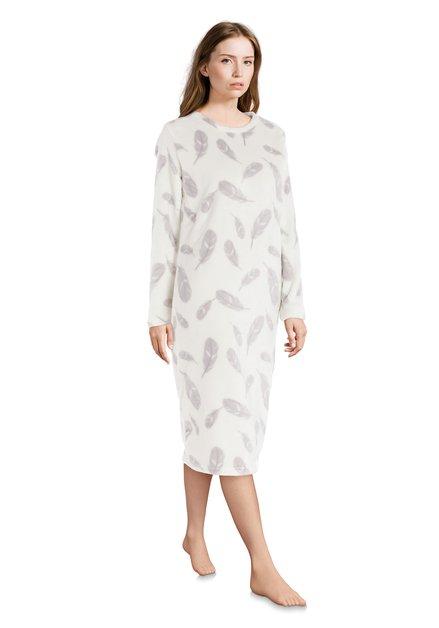 Ecru nachthemd met grijze veertjes
