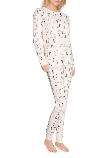 Ecru pyjama met rode zuurstokjes