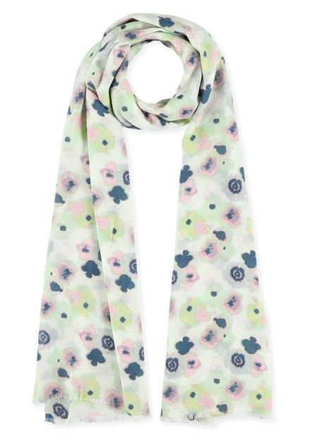 Ecru sjaal met groene, roze en blauwe bloemen