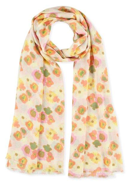 Ecru sjaal met rode, roze en gele bloemen