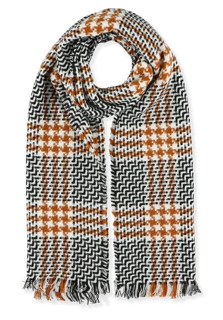 Ecru sjaal met zwrta en bruin pied-de-poule