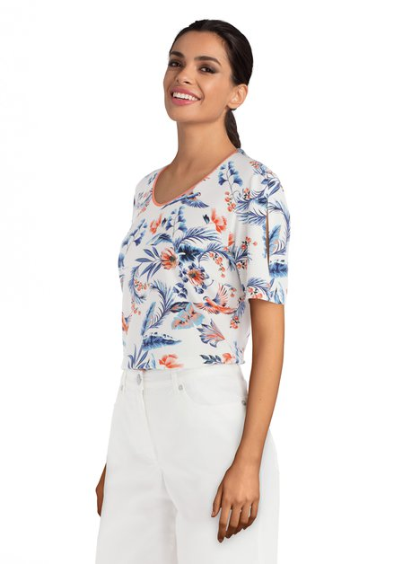 Ecru T-shirt met blauw-oranje tropische print