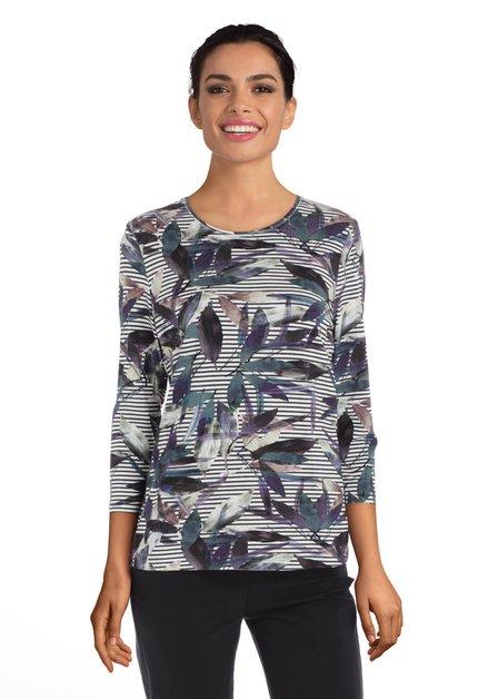 Ecru T-shirt met groen-paarse bladerprint